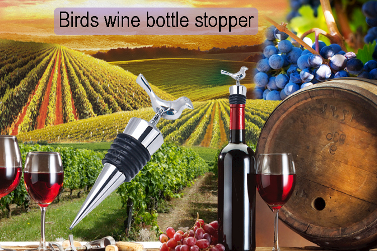 High quality birds shape stopper stainless steel wine bottle