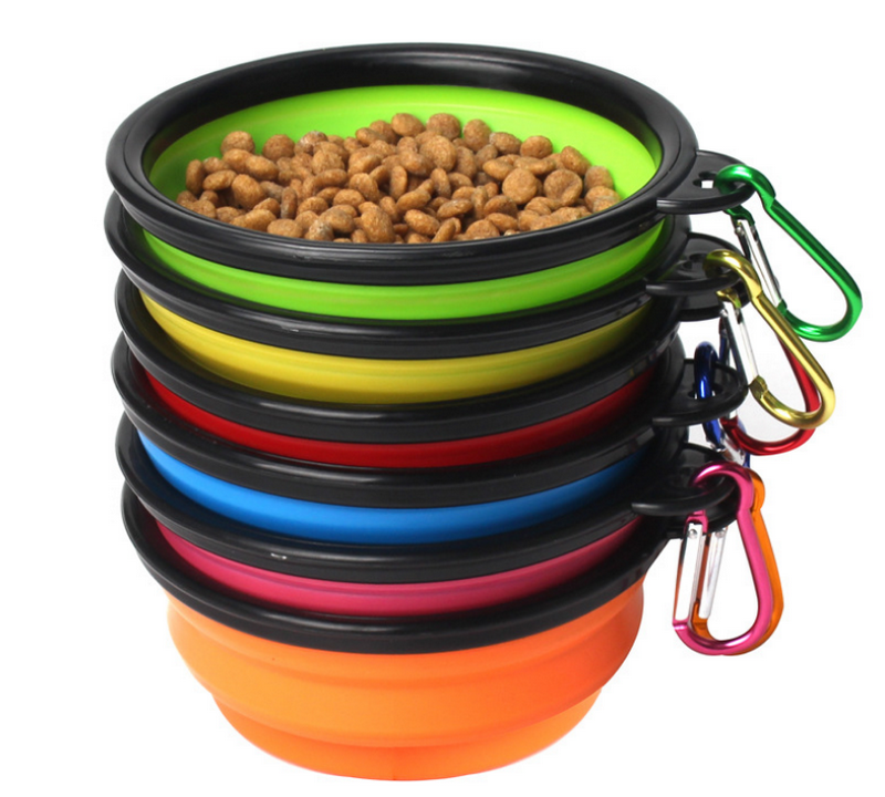 Travel Camping Hiking Walking <strong>Dog</strong> Dish <strong>Bowl</strong> Collapsible <strong>Dog</strong> <strong>Bowl</strong> Pet <strong>Bowl</strong> with Carabiner Clip