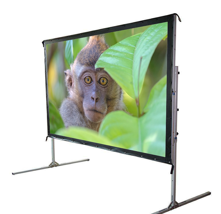 150inch 4:3 Video Format Fast Folding 3D silver Screens With Square Tubing Aluminum Frame and Carry Bag