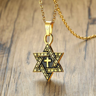 Spiritual Religious Jewish Spiritual Christian Religious Jewelry Stainless Steel Two-Tone Star Of David With Cross Pendant Necklace