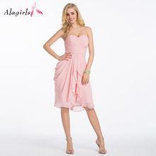 Alagirls розовые платья для вечеринки с открытой спиной 2020 уникальное Драпированное Платье До Колена Для подружки невесты простые халаты для ж...(Китай)
