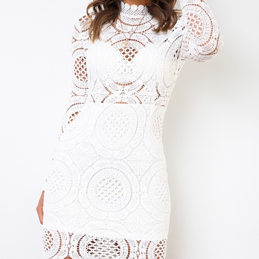 Floral High Quality White Fall Fashion Lady Solid Color Dress Sexy <strong>Lace</strong> Hollow Dresses <strong>Women</strong> <strong>Clothing</strong>