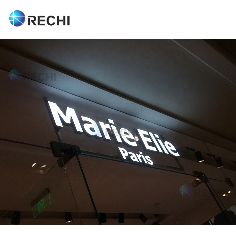RECHI Advertising Light Box Shop Signage Metal 3D Led Illuminated Sign Letter Led Face Light Sign With Stainless Steel Side