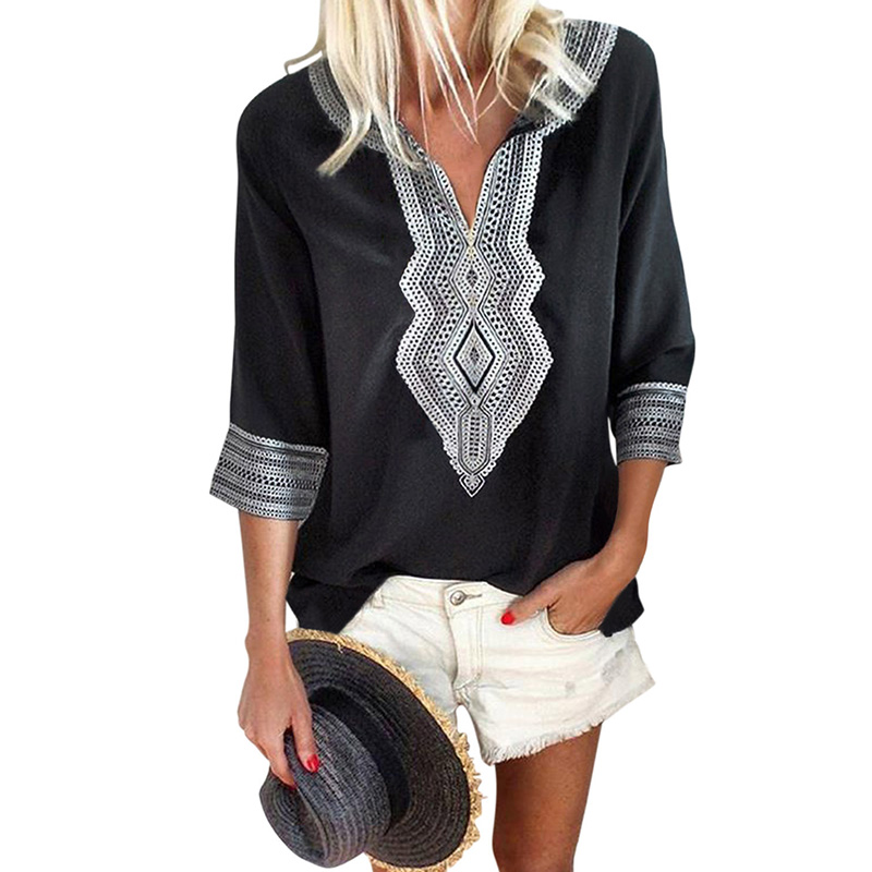 Summer Boho Embroidered V Neck Loose Blouse Tops For Women