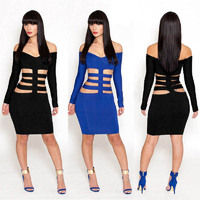 Black and Blue Sexy Long Sleeve Deep V-neck Slim Waist Tie Mini Bodycon Dress Women