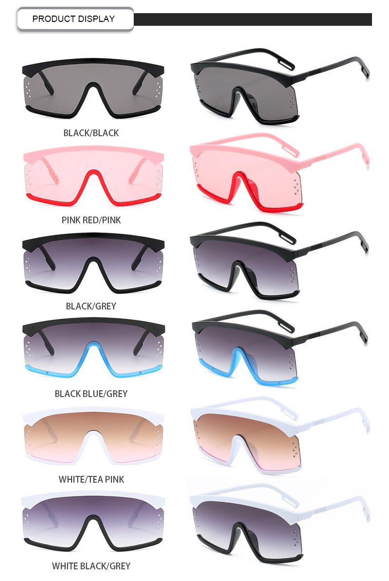2019 Hollow Out Lens Colorful Semi Rimless Men Women One Piece Sunglasses