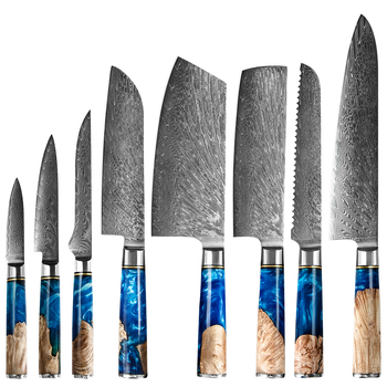 Factory Direct XYJ Carbon Steel 67 Layer Damascus Chef Boning Cleaver 8 Piece Kitchen Knives VG10 Japanese Damascus Knife Set