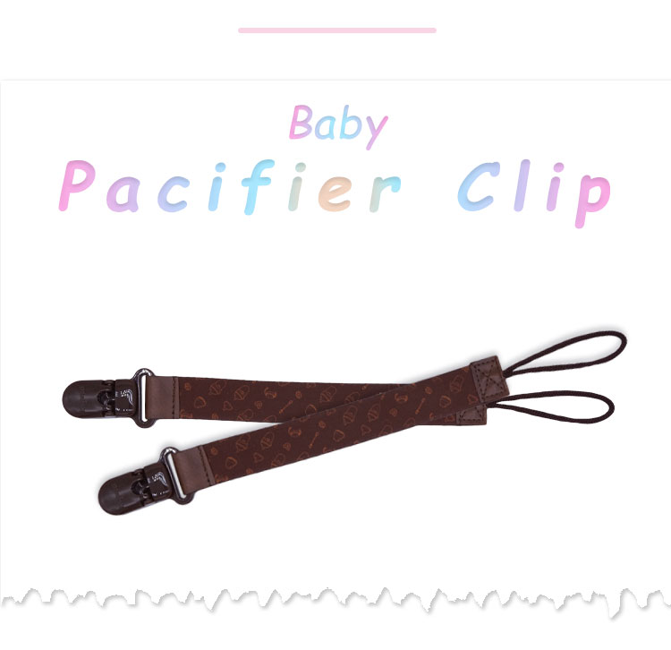 Cute custom dummy  baby leather pacifier clip leather pacifier clip