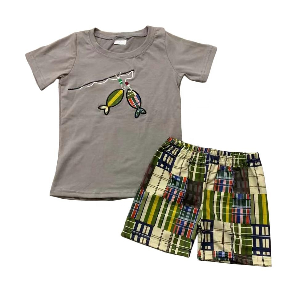 Cute boutique kids clothes fishing pole and fish embroidered summer shirt shorts outfit for baby boys
