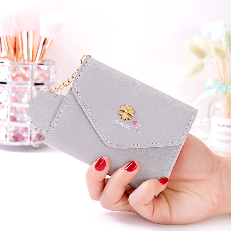 Sweet new style women's purse short Flower Pendant women's mini small wallet