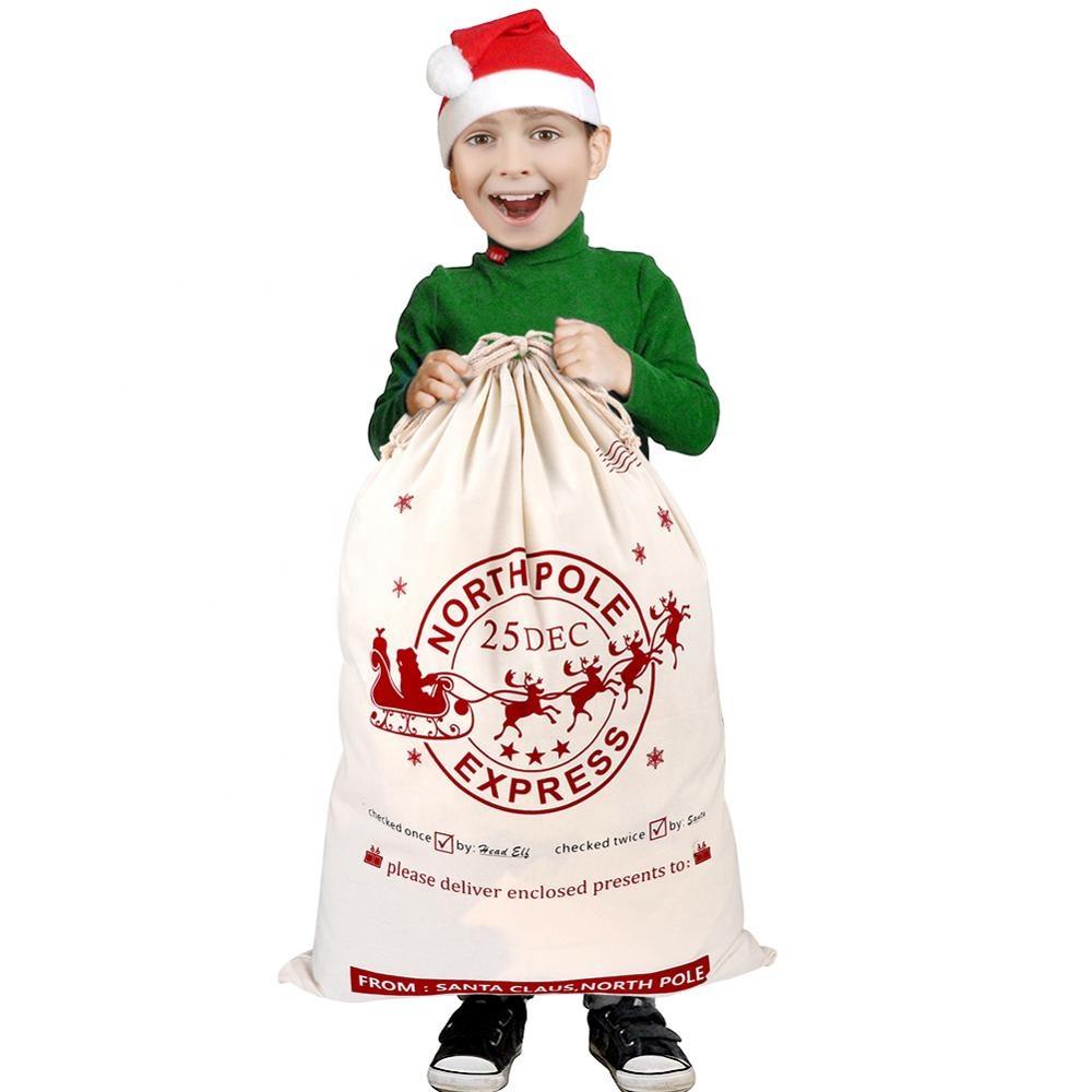 OEM логотип, Рождественское украшение, большая хлопковая профессиональная Холщовая Сумка для Санты, большая рождественская Подарочная сумка, мешки для Санты