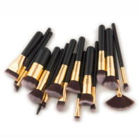 17pcs black wood handle synthetic hair makeup brushes sets 400g makeup brushes vendor