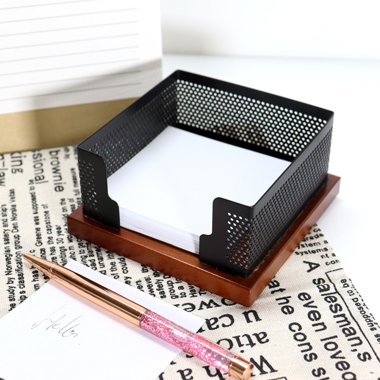 Desktop Office Organizer Massief Hout met Mesh Metalen Sticky Memo Note Pad Houder