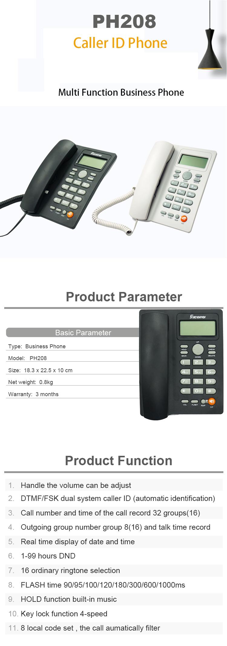 Kích thước điện thoại Excelltel PH208