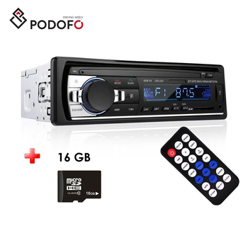 Podofo 1DIN In-Dash Car Radios Stereo Remote Control Digital Bluetooth Audio Music Stereo Car MP3 Radio Player + 16G Memory Card