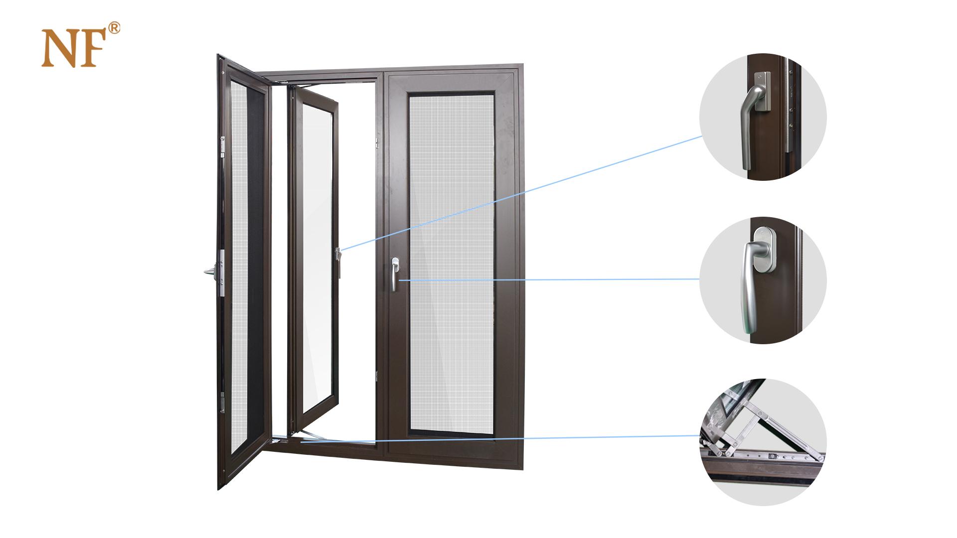 คู่กระจกโค้งคู่ casement window