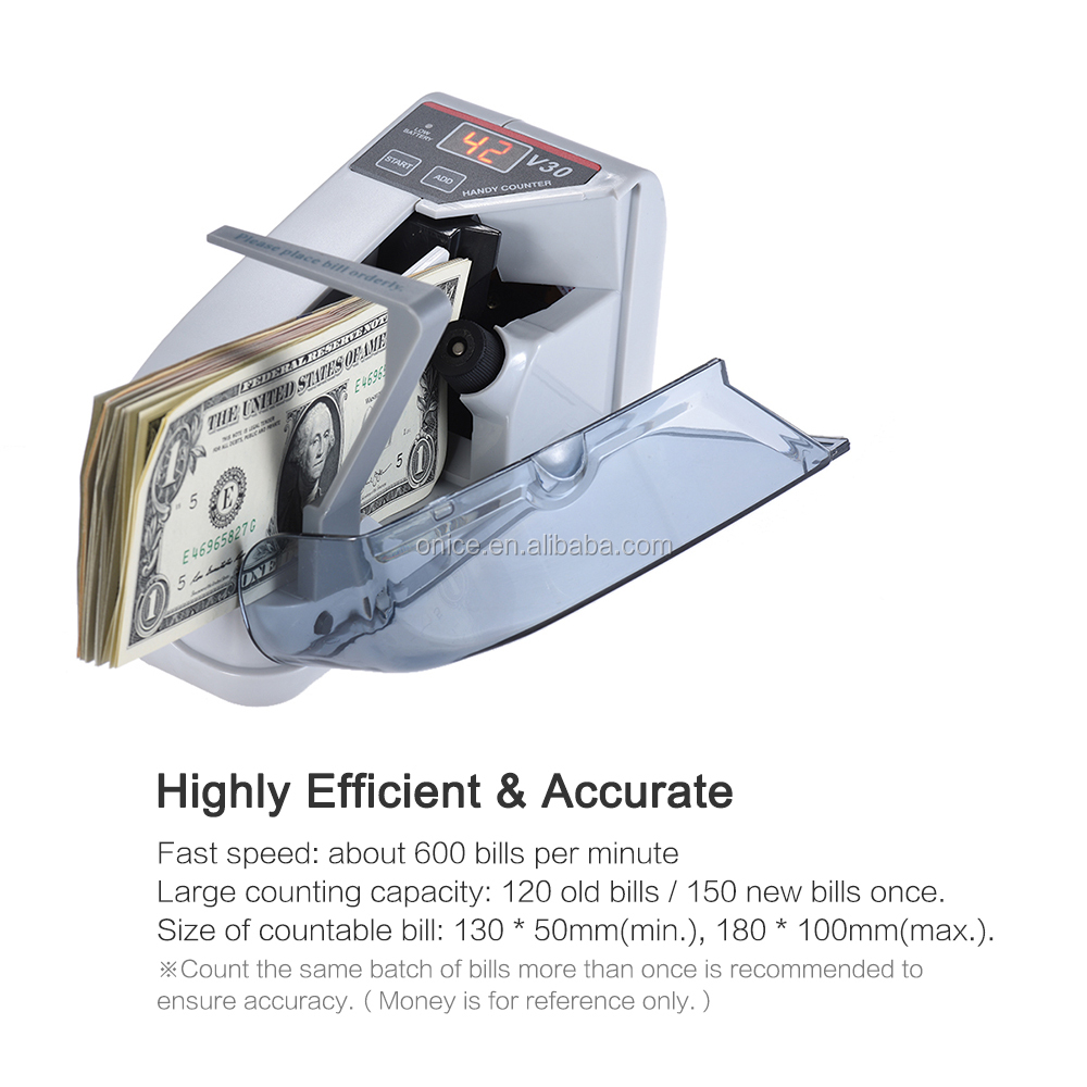v30 Mini Money Currency Counting Machine Handy Bill Cash Banknote Counter  Battery Powered Money bill counter  EU US
