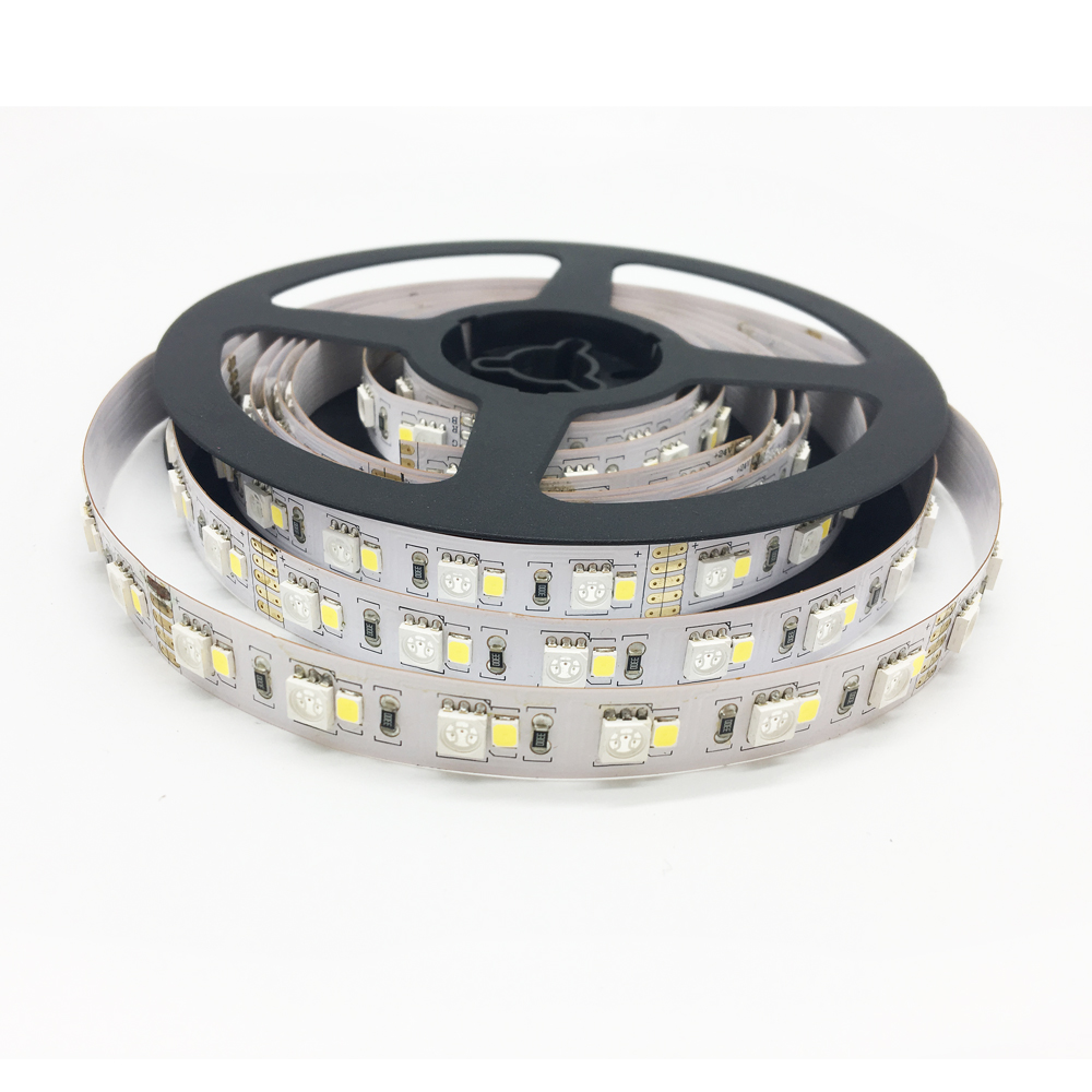 China manufacturer 24v 5050 2835 12mm ribbon rgbw  2*60 led strip light 5M/roll