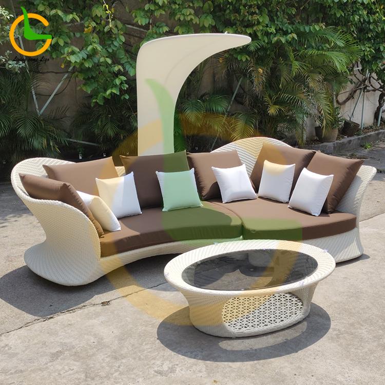 Moda tasarım su geçirmez high end açık uyuyan rattan bahçe salonu kanepe (özelleştirilmiş kabul)