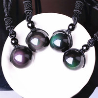 Necklaces & Pendants Natural Stone For Women and Men Black Obsidian Rainbow Eye Beads Ball Transfer Lucky Love HYSD2