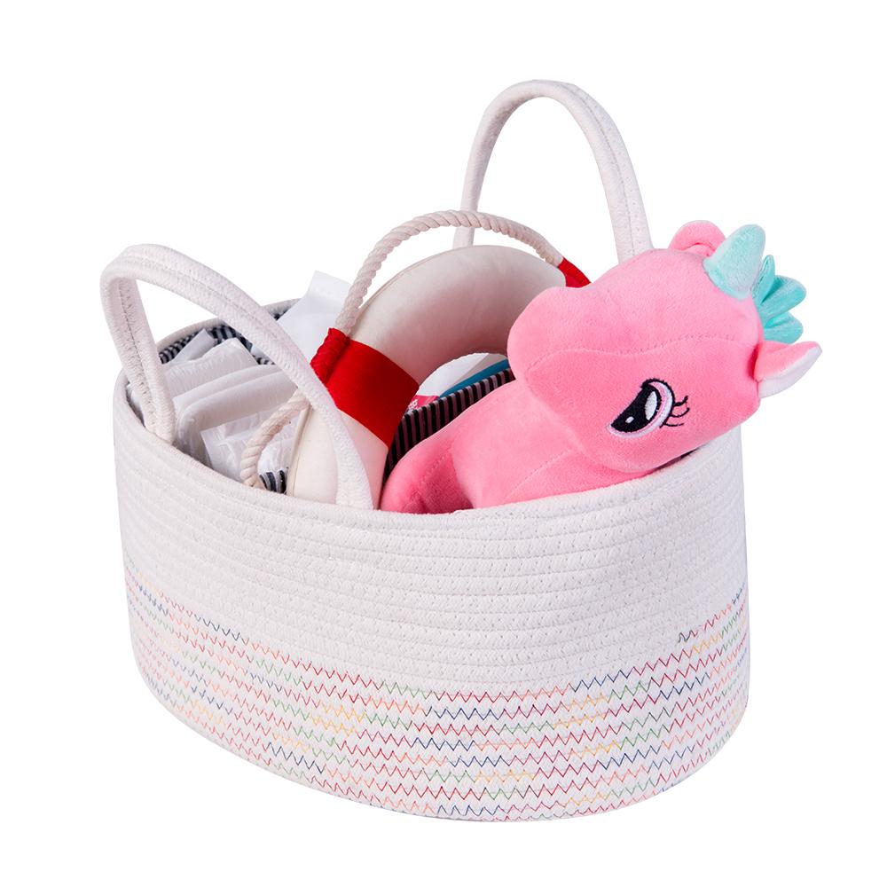 Alta calidad vivero organizador caja de almacenamiento plegable caja de cuerda de algodón de bebé pañales caddy cesta para niños con abejas.