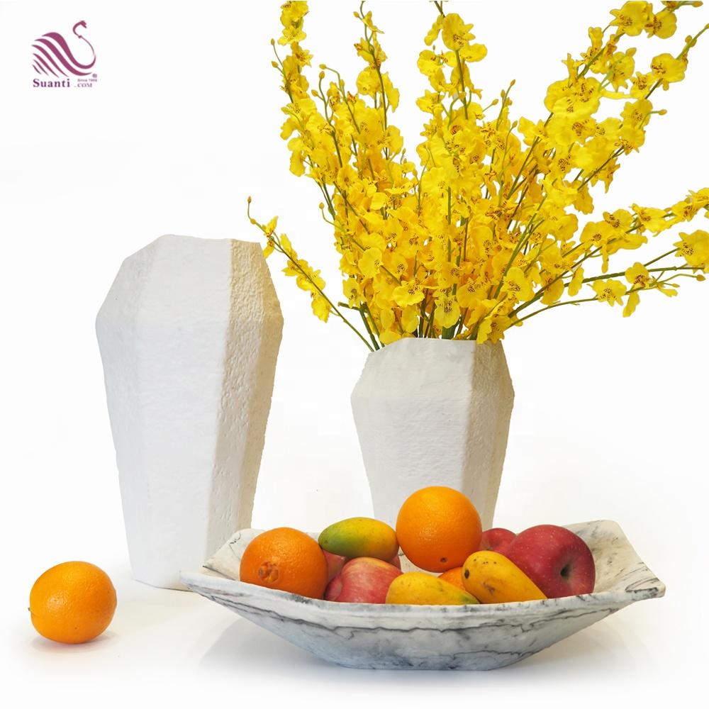 Suanti white hand made resin decoration interior luxury dry flower vase set big handmade Nordic modern vases for home decor