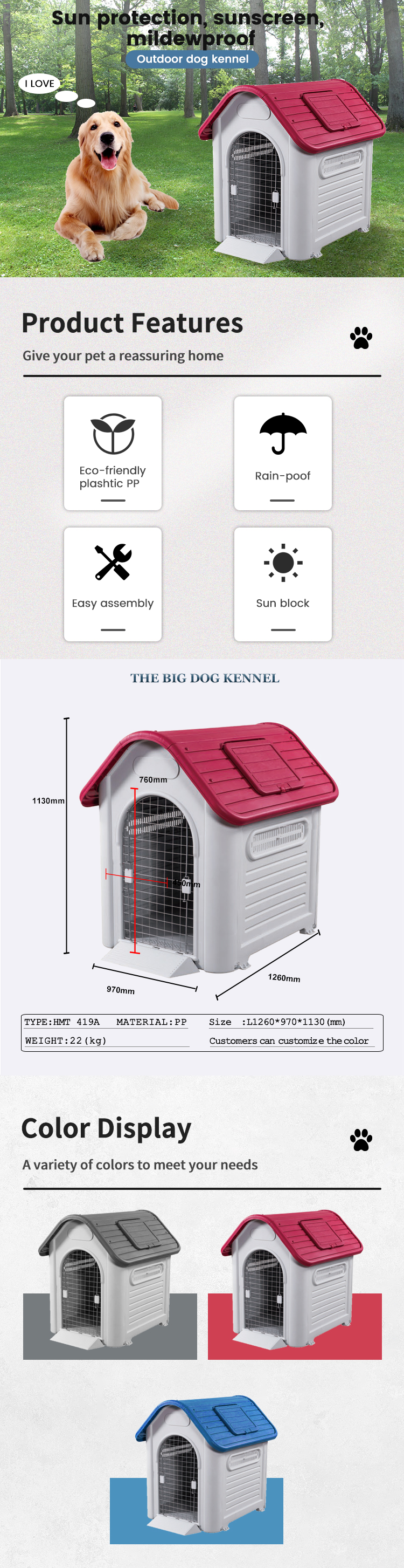 Plastic outdoor large XXL dog house kennel for big dogs with metal door