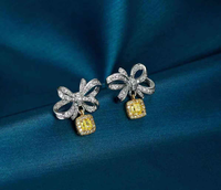 Fashion elegant women k solid gold yellow diamond earrings