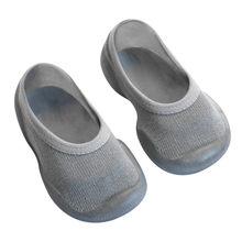 Новые стильные детские носки-тапочки однотонные носки для новорожденных девочек нескользящая обувь с мягкой резиновой подошвой носки-тапо...(China)