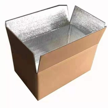 Aluminum Foil Paper Corrugated Box Foil lined Frozen Shipping Box Vaccine for Freeze Food Storage Fresh Keeping Meat Box Carton