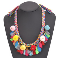 Euro-american Fashionable Hyperbole Boho Wind Pom Pom Necklace Hand Knit Silk Thread Necklace Tassel Necklace For Women