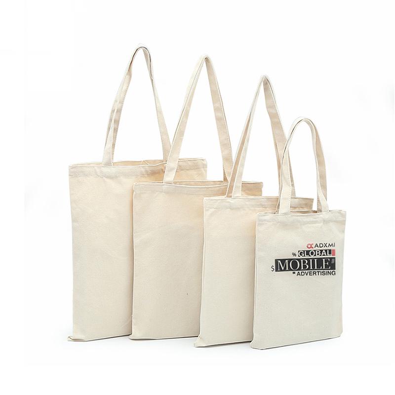 Bianco di Vendita Al Dettaglio Vestire Pieghevole Personalizzato Stampato Tote Promozionale Eco Friendly Riutilizzabili Tessuto di Cotone di Tela Borse per la Spesa Con Logo