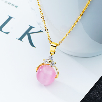 Wholesale Opal sand gold necklace imitation gem Ball pendant women's necklace short clavicle chain + pendant