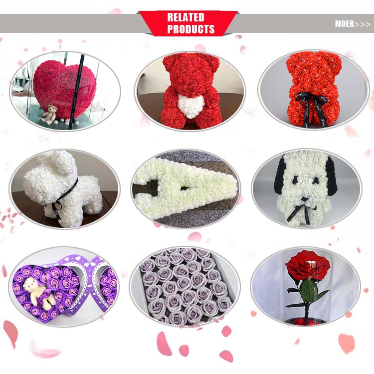 YIBING 25CM corazón oso fiesta decoración de la boda de San Valentín novia regalo de aniversario de la flor de espuma oso de peluche oso