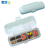Portable 7 Compartment Blank Rectangle Plastic Pill Containers Travel Pill Container Small Plastic Medicine Container