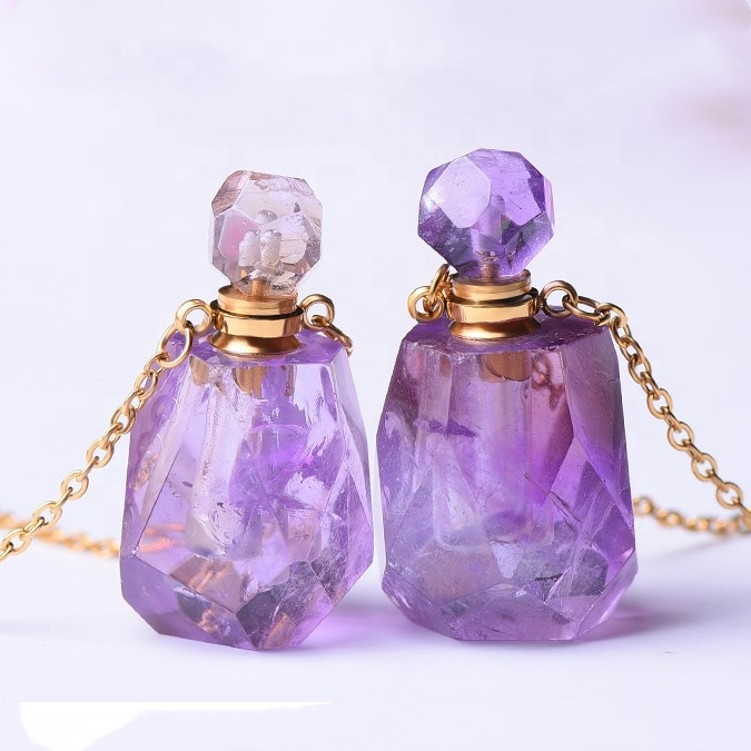 Wholesale charm <strong>natural</strong> crystal gemstone necklace <strong>amethyst</strong> perfume bottle <strong>pendants</strong>