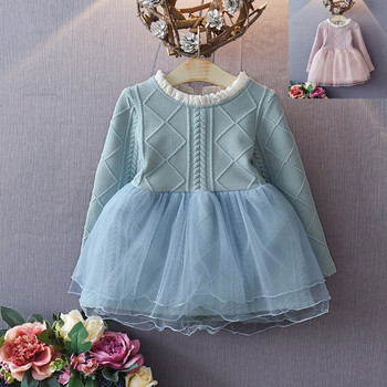 Fall Knit Long Sleeve Girls Clothes Soft Tulle Fashion Girls Tutu Party Dresses
