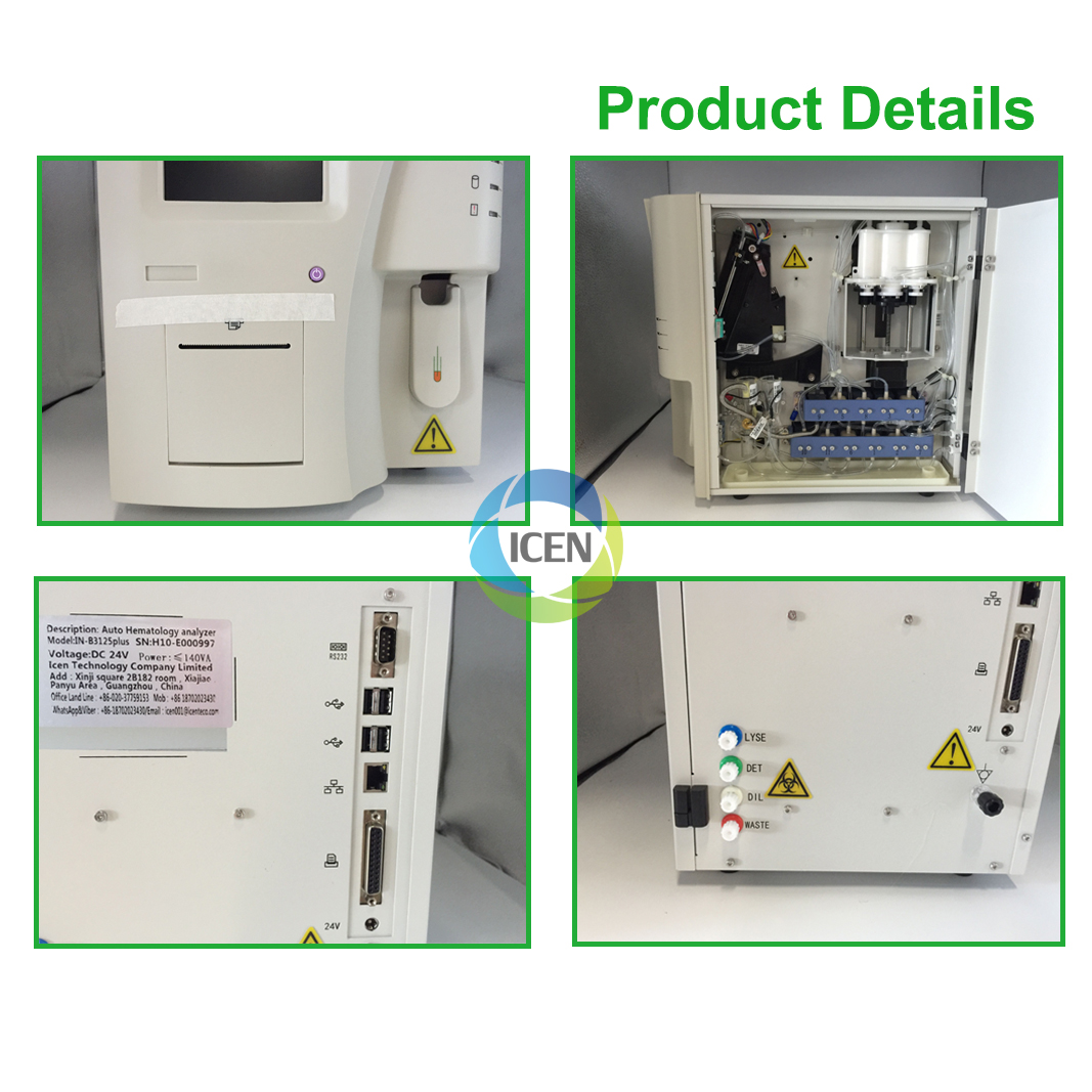 IN-B3125 Medical fully automatic hematology blood analyzer price 3 parts Hematology machine