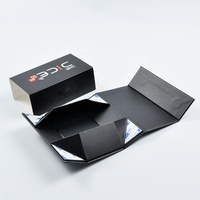 Custom Square Collapsible Rigid Black Flap Cardboard Paper Folding Magnetic Closure Gift Box