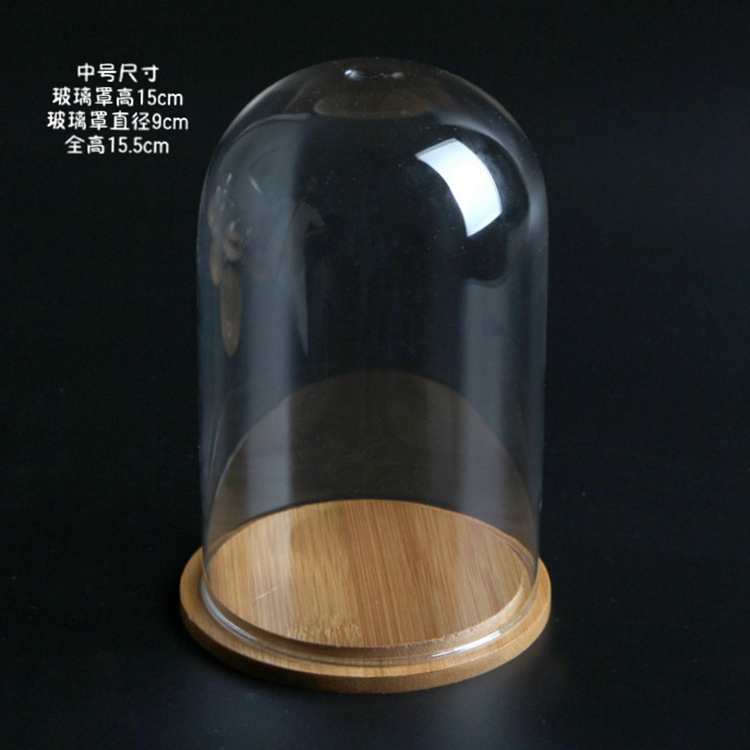Wholesale flower glass dome with base for home decoration