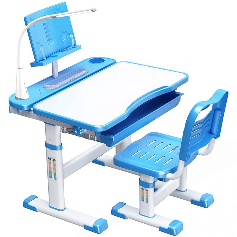 Tinggi Dapat Disesuaikan Anak Meja dan Kursi Set dengan Lampu untuk Tabel Rumah Furniture