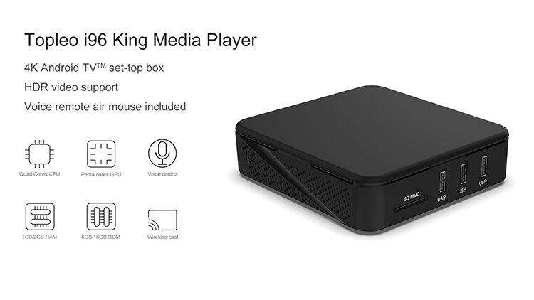 Topleo i96 King 1gb/2gb ram smart android 7.1 quad core internet 4k ultra hd support tv box