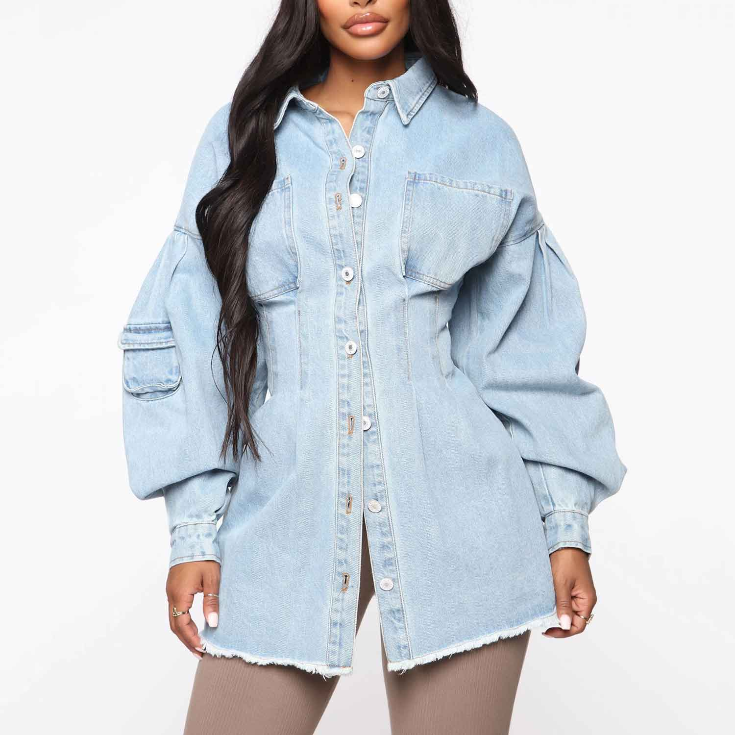 Custom Women Fashion Long Puff Sleeve Oversized Button Down Jean Denim Jacket