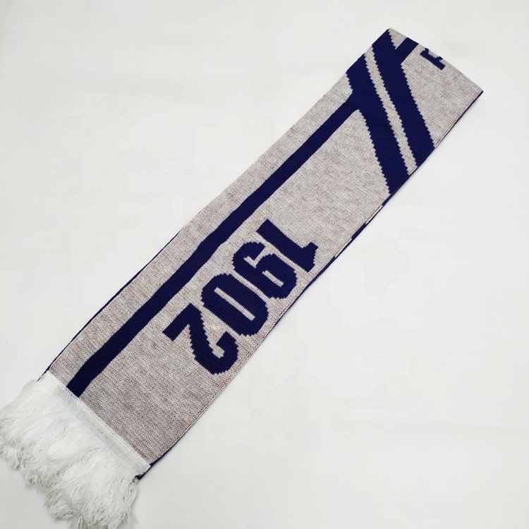 OEM <strong>custom</strong> <strong>logo</strong> 100% acrylic knitted Island football fan <strong>scarf</strong> for soccer fan <strong>scarf</strong>