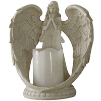 Hot sale small size resin praying angel candlestick with battery