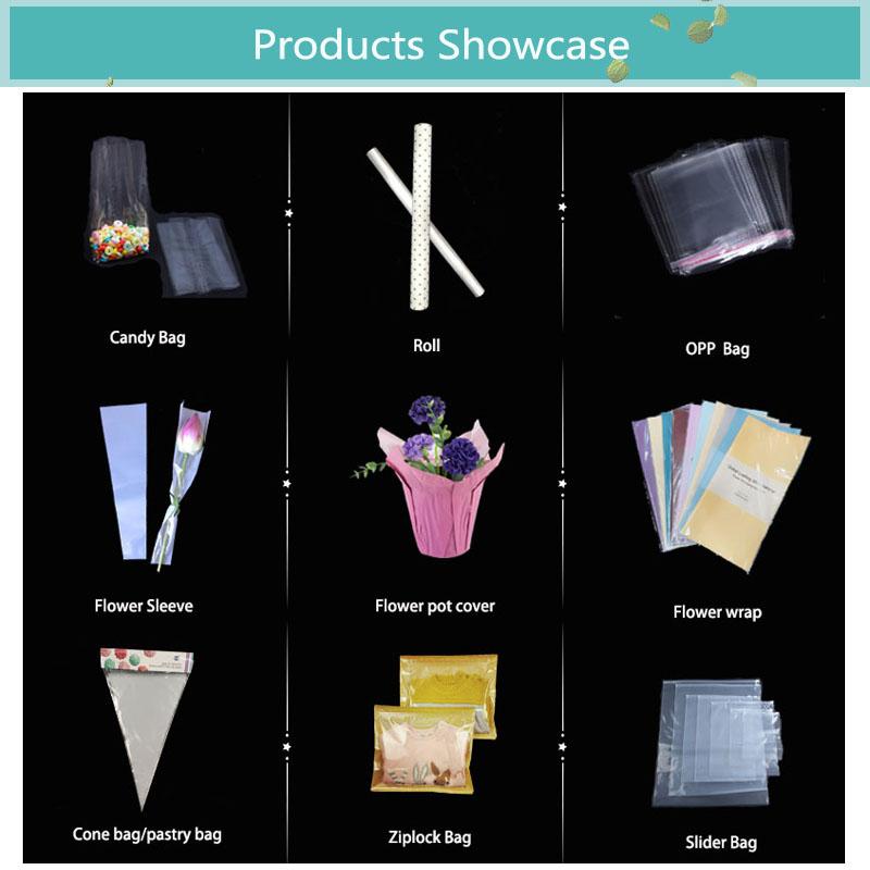 Di Yiwu cono a forma di sacchetti di opp violoncello sacchetto di imballaggio per la caramella sacchetto trasparente