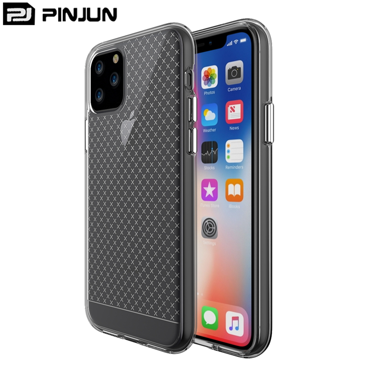 Plating button design soft tpu absorbs impact <strong>micro</strong> cross <strong>crystal</strong> <strong>clear</strong> hard back cover for apple iphone 11 pro max