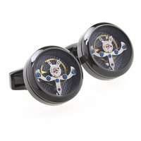 Wholesale Fashion Custom Watch Movement Mechanical Clock French Mens Round Cufflink