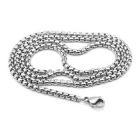 Hip hop style Stainless Steel Necklace silver 3mm Retro Square Pearl Chain