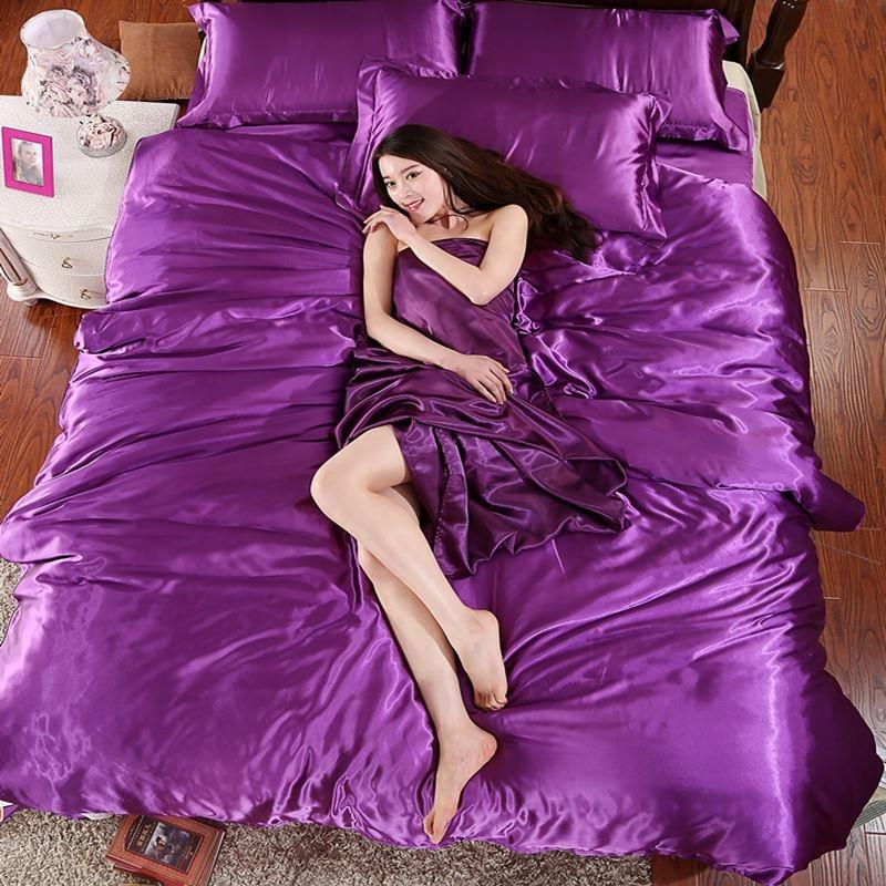 Alibaba Chaude violet Soie Couette Ensemble de Draps